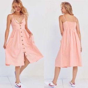 UO Cooperative Emilia Pink Linen Button Dress 96